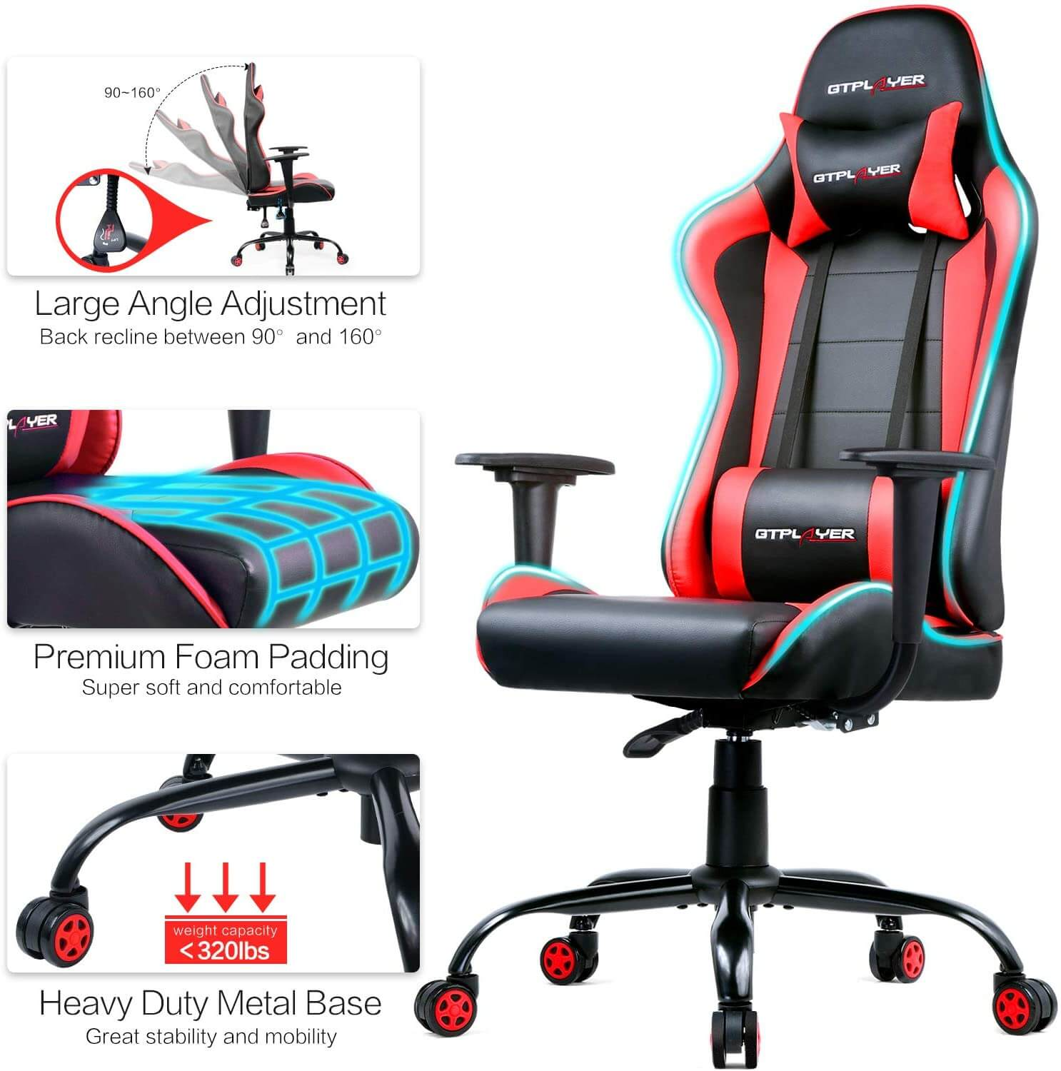 Gtplayer gaming reclining chair review red