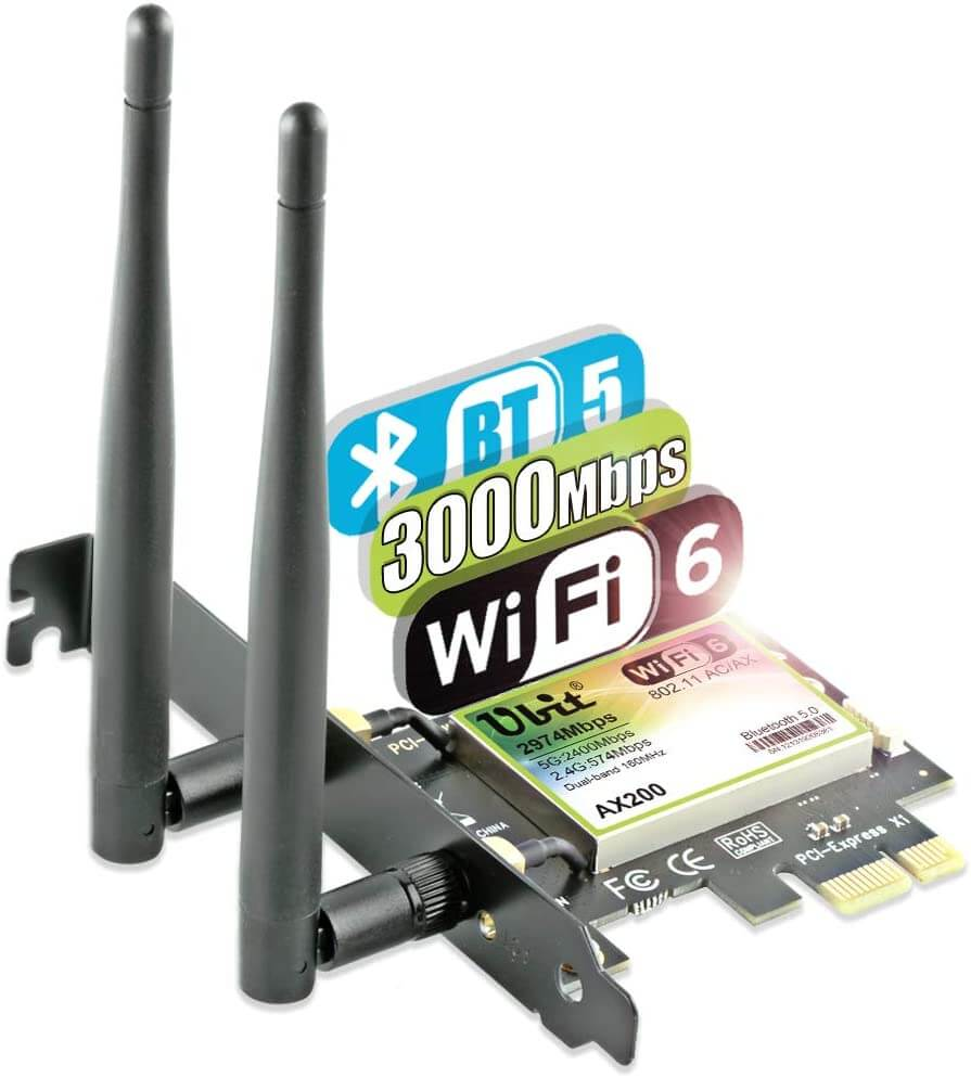2) Ubit AX-AC WiFi 6 2974 Mbps wifi card for gaming pc