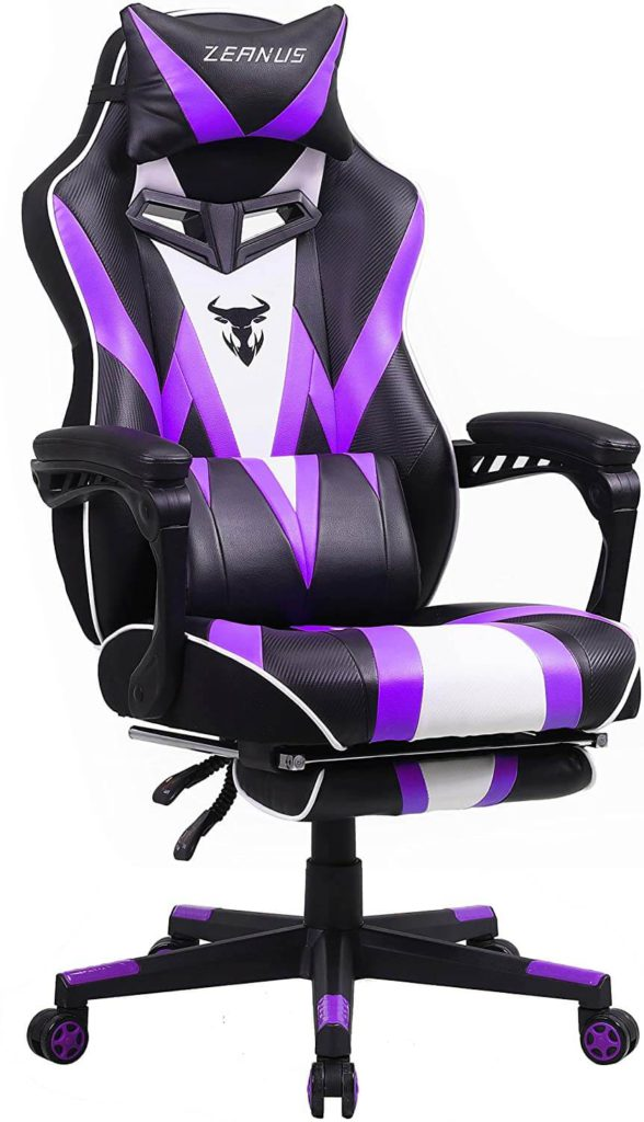 Zeanus Big and Tall Purple Computer Chair with Massage